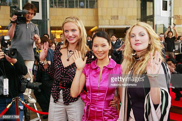 Cameron Diaz Lucy Liu and Drew Barrymore visit Tokyo to promote their new movie 'Charlies Angels Full Throttle' Over 300 reporters came to the...