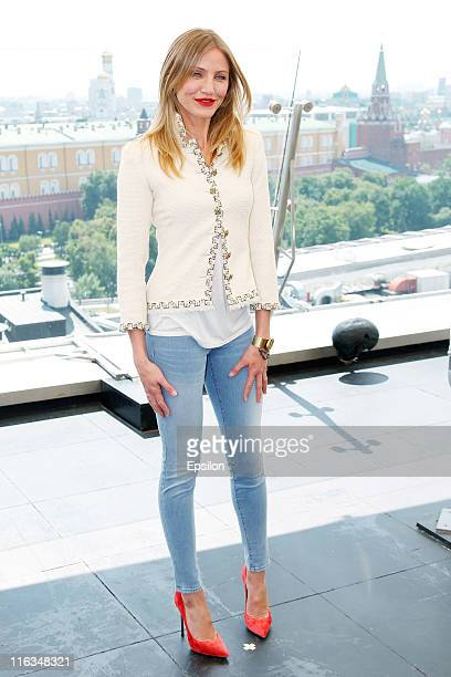 Cameron Diaz poses for a photocall before Russian premiere of 'Bad Teacher' movie on the roof of the Ritz hotel in Moscow Russia June 15 2011