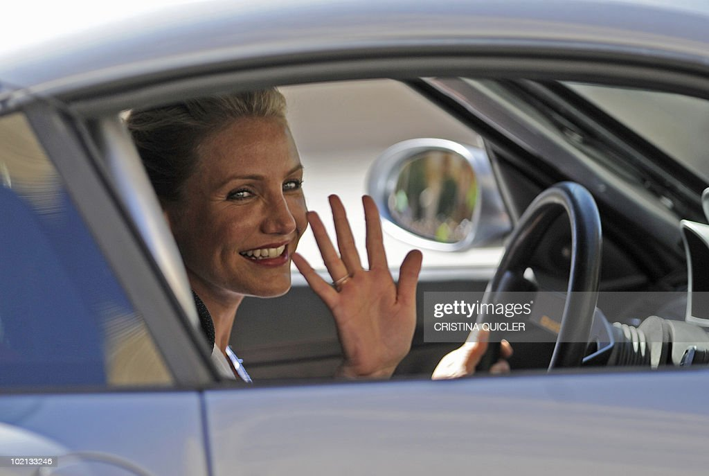 Cameron Diaz rides a car in Sevilla on June 16, 2010, to recreate scenes from the film 'Knight and Day' by US director James Mangold. US actors Tom Cruise and Cameron Diaz arrive in Sevilla to attend the international premiere of Mangold's new film.