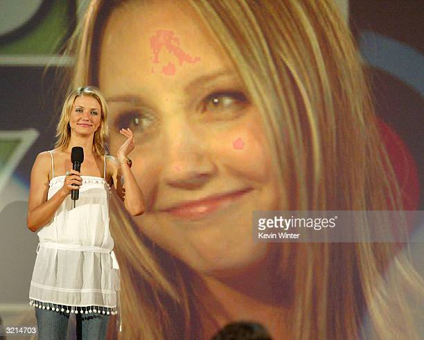 Cameron Diaz speaks during Nickelodeon's 17th Annual Kids' Choice Awards at Pauley Pavilion on the campus of UCLA April 3 2004 in Westwood California