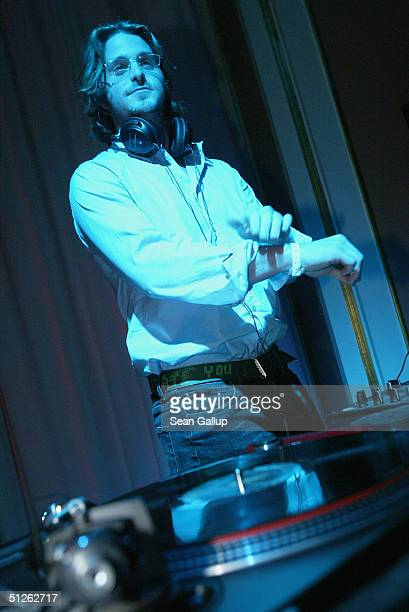 Cameron Douglas son of actor Michael Douglas DJs at the Reminders Day AIDS Gala September 4 2004 in Berlin Germany