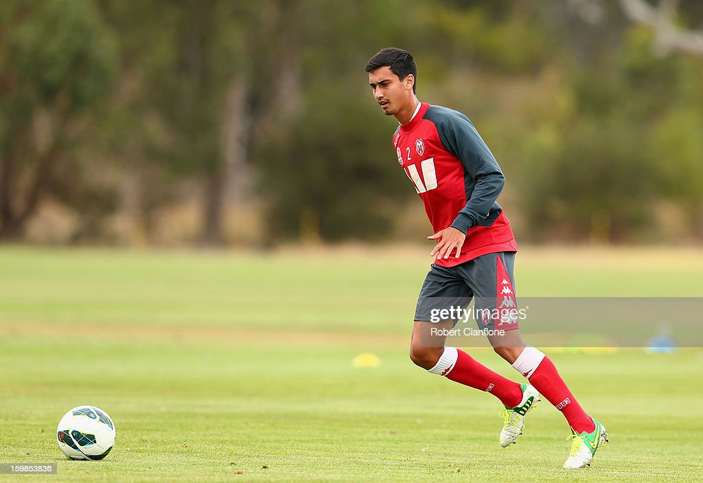 Cameron Edwards of the Heart kicks the ball during a Melbourne Heart A-League training session at La Trobe University Sports Fields on January 22, 2013 in Melbourne, Australia.