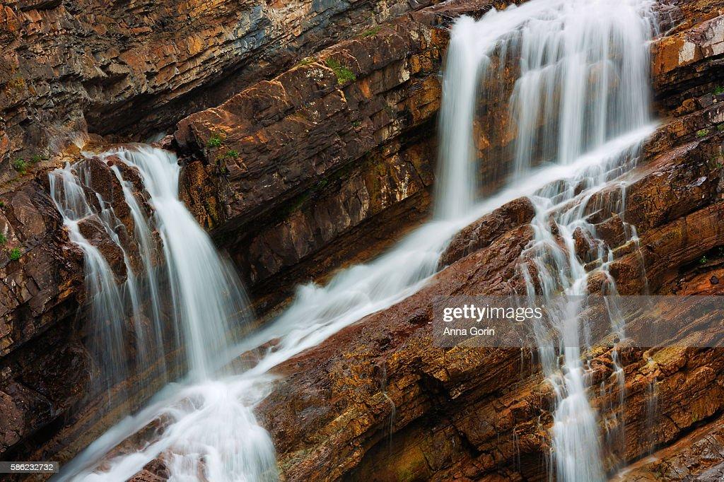 Cameron Falls in Waterton Lakes National Park, Canada, long exposure detail