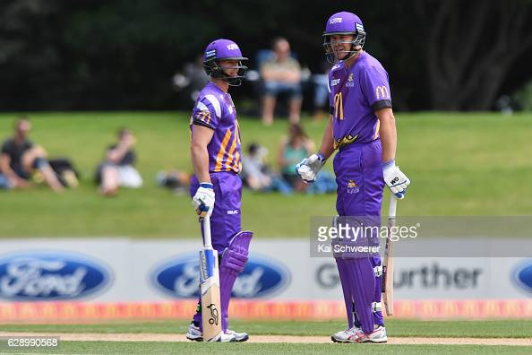 Cameron Fletcher and Peter Fulton of the Kings look on during the Super Smash Twenty20 match between the Canterbury kings and the Auckland Aces at...