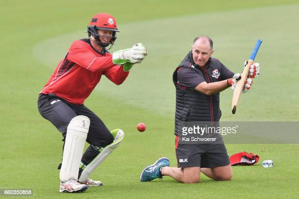 Cameron Fletcher of Canterbury and Canterbury coach Gary Stead warm up prior to the Plunket Shield match between Canterbury and Wellington on March...