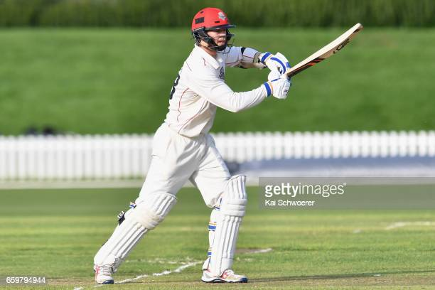 Cameron Fletcher of Canterbury batting during the Plunket Shield match between Canterbury and Wellington on March 29 2017 in Christchurch New Zealand