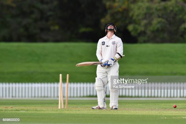 Cameron Fletcher of Canterbury reacts after being bowled by Iain McPeake of Wellington during the Plunket Shield match between Canterbury and...