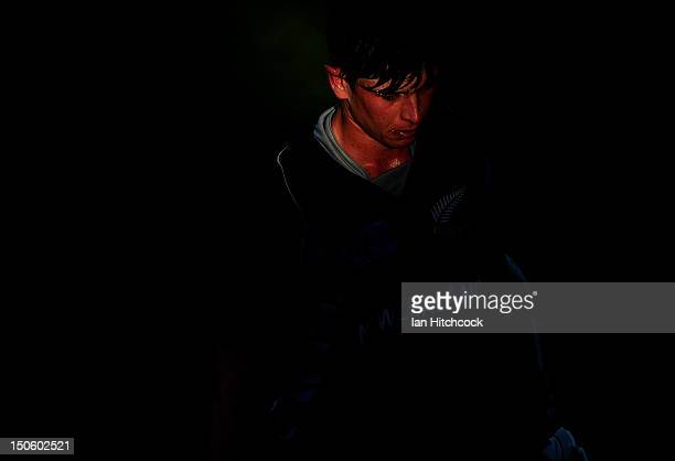Cameron Fletcher of New Zealand walks off the field after being dismissed during the ICC U19 Cricket World Cup 2012 Semi Final match between India...