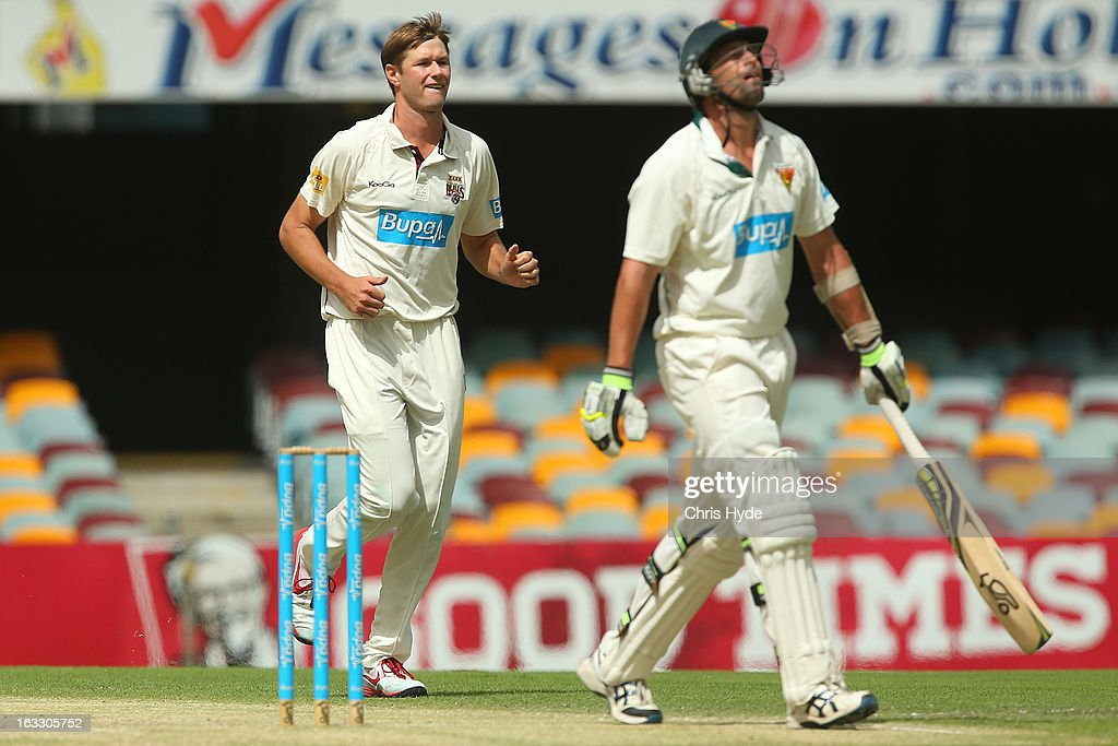 Cameron Gannon of the Bulls celebrates after dismissing Ben Hilfenhaus of the Tigers during day two of the Sheffield Shield match between the Queensland Bulls and the Tasmanian Tigers at The Gabba on March 8, 2013 in Brisbane, Australia.