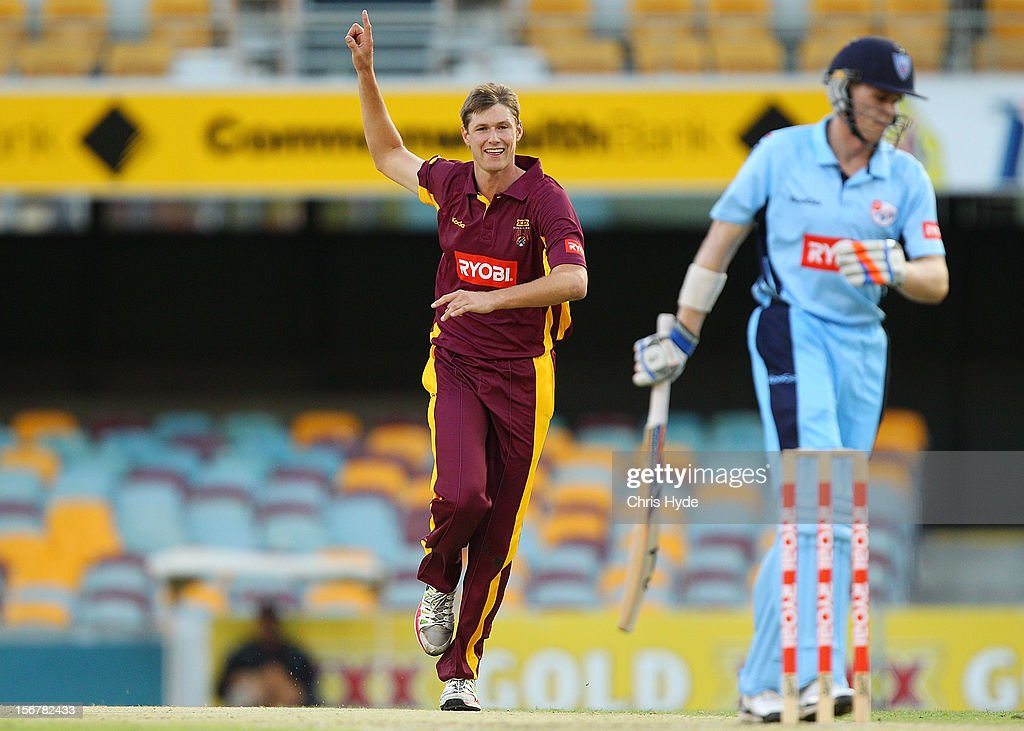 Cameron Gannon of the Bulls celebrates after dismissing Scott Henry of the Blues during the Ryobi One Day Cup match between the Queensland Bulls and the New South Wales Blues at The Gabba on November 21, 2012 in Brisbane, Australia.