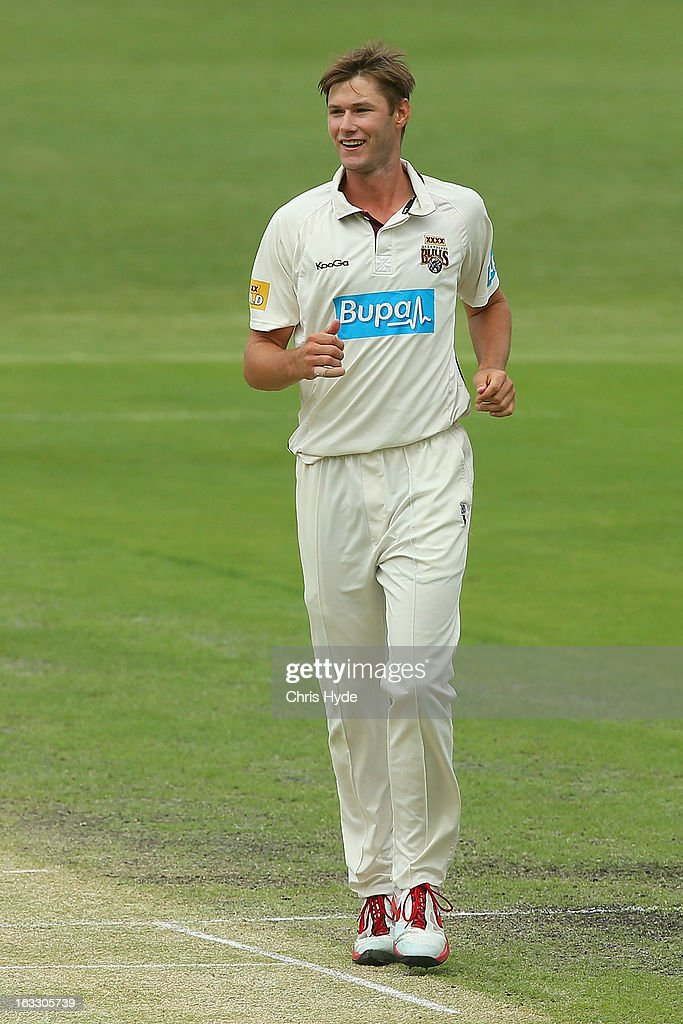 Cameron Gannon of the Bulls celebrates dismissing Luke Butterworth of the Tigers during day two of the Sheffield Shield match between the Queensland Bulls and the Tasmanian Tigers at The Gabba on March 8, 2013 in Brisbane, Australia.