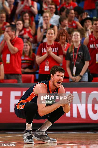 Cameron Gliddon of the Taipans reacts after Bryce Cotton of the Wildcats was fouled in the dying seconds of the game during the round 16 NBL match...