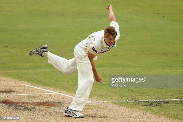 Cameron Green of Western Australia bowls during the Sheffield Shield match between Western Australia and New South Wales at WACA on March 18 2017 in...