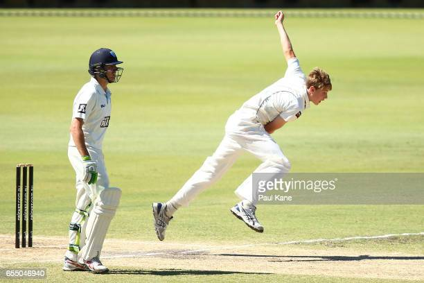 Cameron Green of Western Australia bowls during the Sheffield Shield match between Western Australia and New South Wales at WACA on March 19 2017 in...