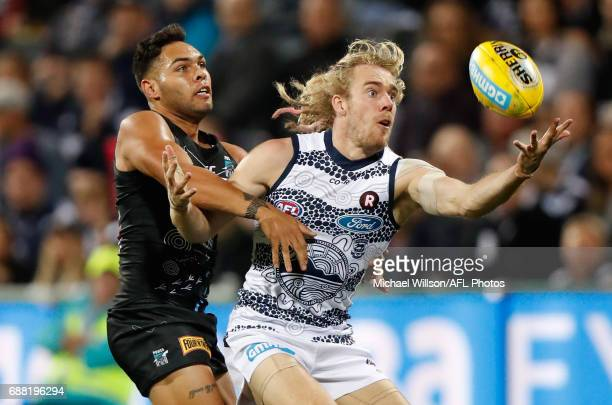 Cameron Guthrie of the Cats and Jarman Impey of the Power compete for the ball during the 2017 AFL round 10 match between the Geelong Cats and Port...
