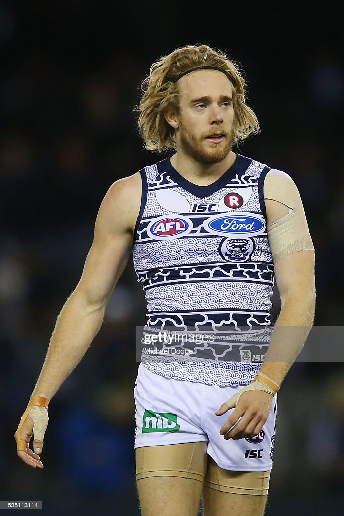 Cameron Guthrie of the Cats reacts after being down at half time during the round 10 AFL match between the Carlton Blues and the Geelong Cats at Etihad Stadium on May 29, 2016 in Melbourne, Australia.