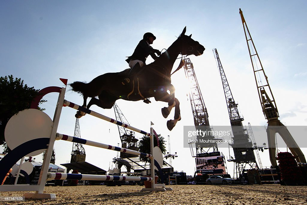 Cameron Hanley of Ireland on Amira competes in the CSI5* Table A with one jump-off against the clock during day 2 of the Longines Global Champions Tour of Antwerp at the Waagnatie on April 25, 2014 in Antwerpen, Belgium.