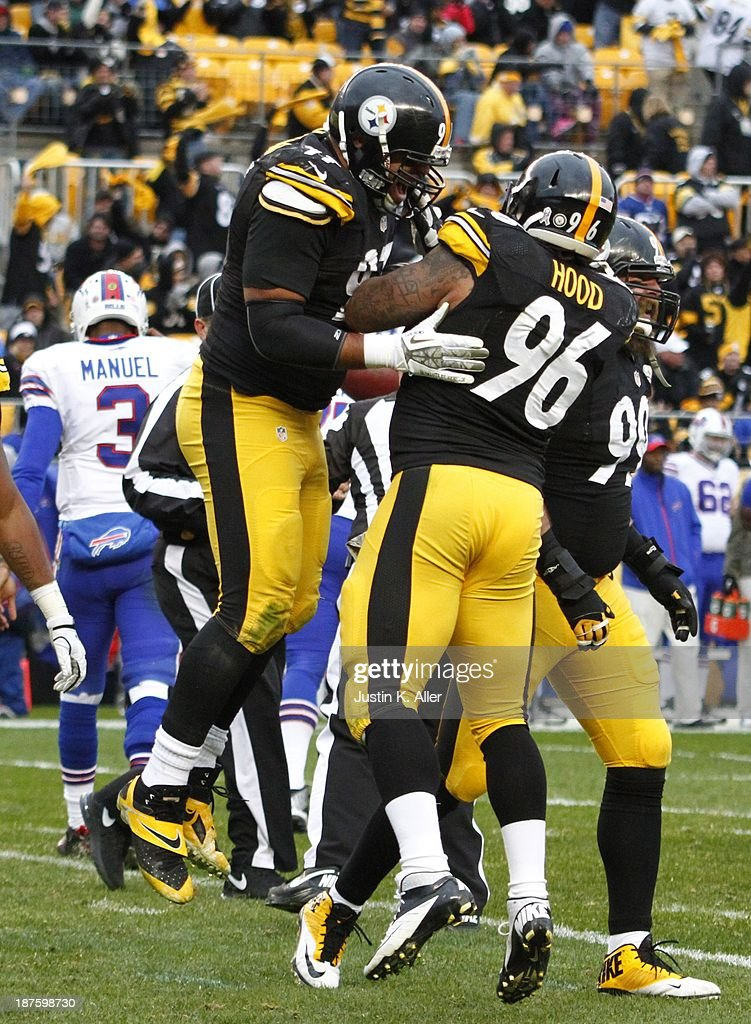 <a gi-track='captionPersonalityLinkClicked' href=/galleries/search?phrase=Cameron+Heyward&family=editorial&specificpeople=4524172 ng-click='$event.stopPropagation()'>Cameron Heyward</a> #97 of the Pittsburgh Steelers celebrates after a sack against the Buffalo Bills during the game on November 10, 2013 at Heinz Field in Pittsburgh, Pennsylvania.