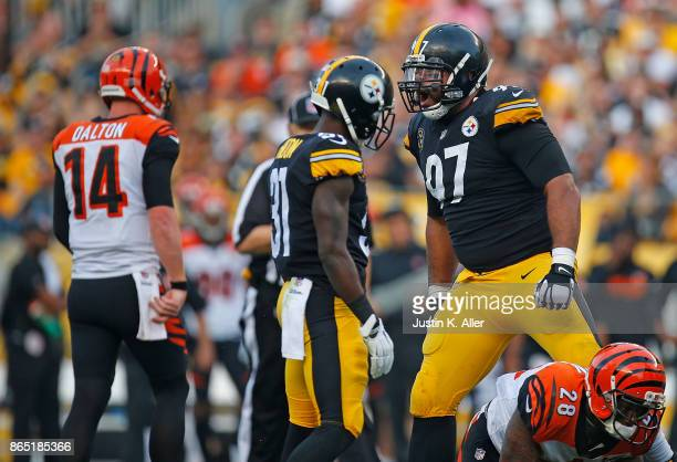 Cameron Heyward of the Pittsburgh Steelers reacts after a defensive stop in the first half during the game against the Cincinnati Bengals at Heinz...