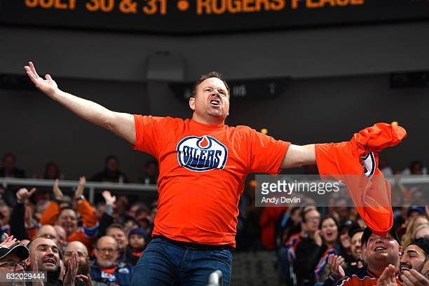 Cameron Hughes pumps up the crowed during the game between the Edmonton Oilers and the Florida Panthers on January 18 2017 at Rogers Place in...