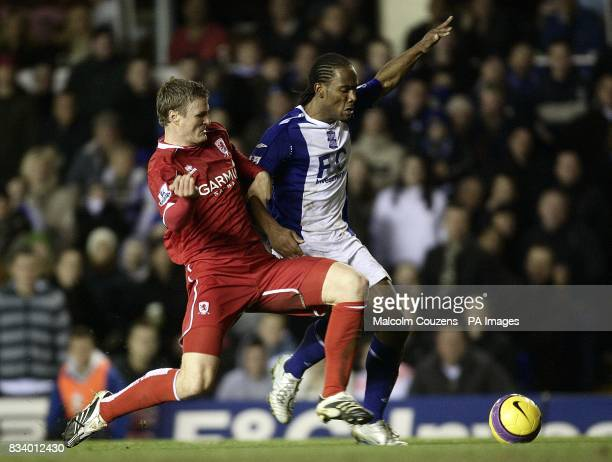 Cameron Jerome Birmingham City and Robert Huth Middlesbrough battle for the ball