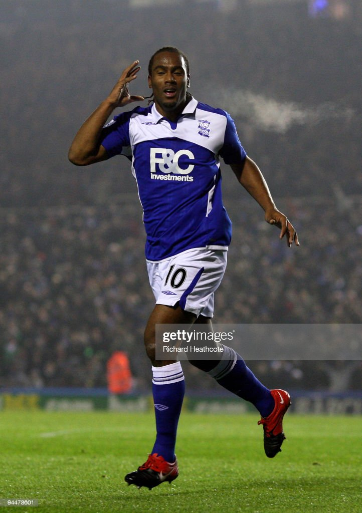 Cameron Jerome of Birmingham celebrates scoring the first goal during the Barclays Premier League match between Birmingham City and Blackburn Rovers...