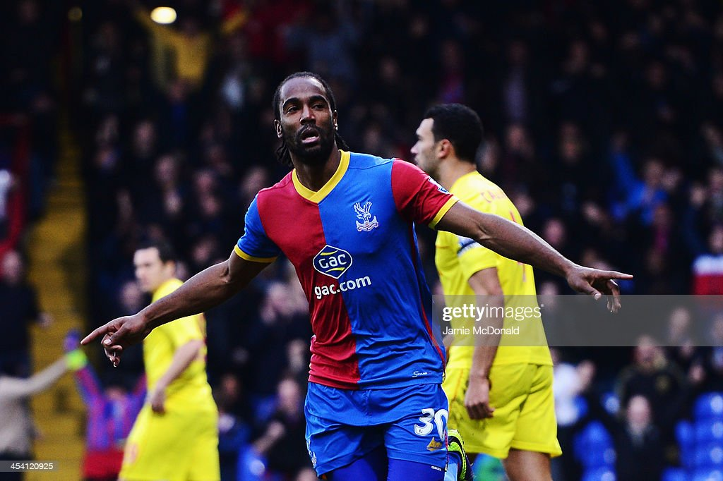 <a gi-track='captionPersonalityLinkClicked' href=/galleries/search?phrase=Cameron+Jerome&family=editorial&specificpeople=815275 ng-click='$event.stopPropagation()'>Cameron Jerome</a> of Crystal Palace celebrates scoring during the Barclays Premier League match between Crystal Palace and Cardiff City at Selhurst Park on December 07, 2013 in London, England.