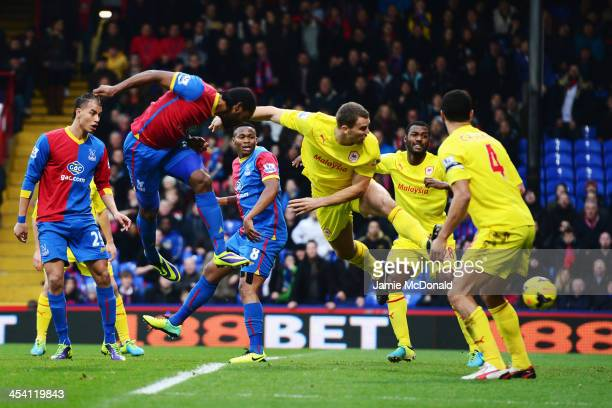 Cameron Jerome of Crystal Palace scores with his head during the Barclays Premier League match between Crystal Palace and Cardiff City at Selhurst...