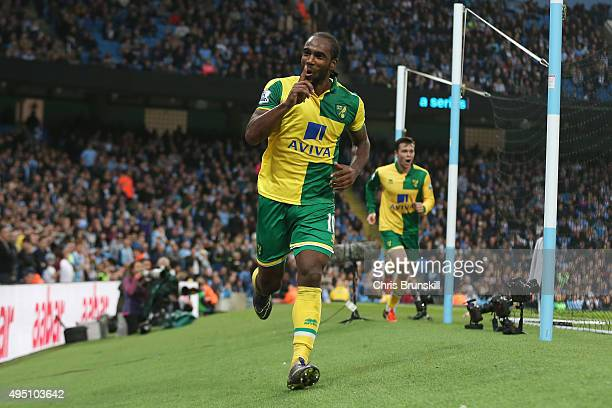 Cameron Jerome of Norwich City celebrates scoring his team's first goal during the Barclays Premier League match between Manchester City and Norwich...