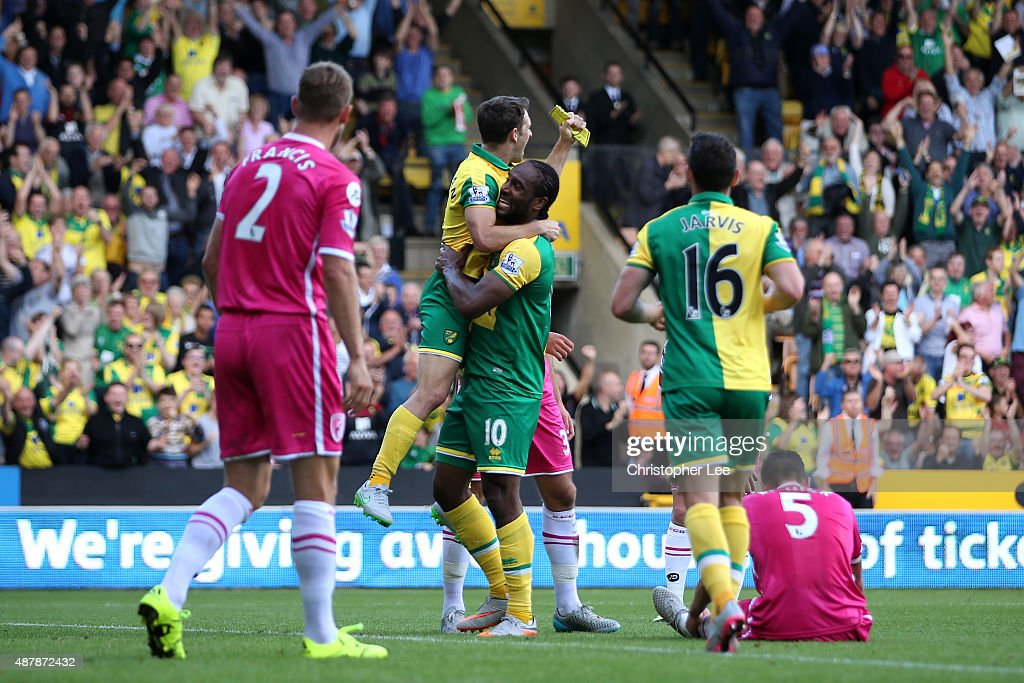 Cameron Jerome of Norwich City celebrates scoring the opening goal during the Barclays Premier League match between Norwich City and AFC Bournemouth...