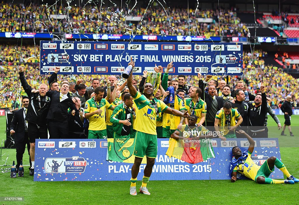 <a gi-track='captionPersonalityLinkClicked' href=/galleries/search?phrase=Cameron+Jerome&family=editorial&specificpeople=815275 ng-click='$event.stopPropagation()'>Cameron Jerome</a> of Norwich City (front) celebrates with team mates after the Sky Bet Championship Playoff Final between Middlesbrough and Norwich City at Wembley Stadium on May 25, 2015 in London, England. Norwich City seal promotion to the Premier League with a 2-0 victory