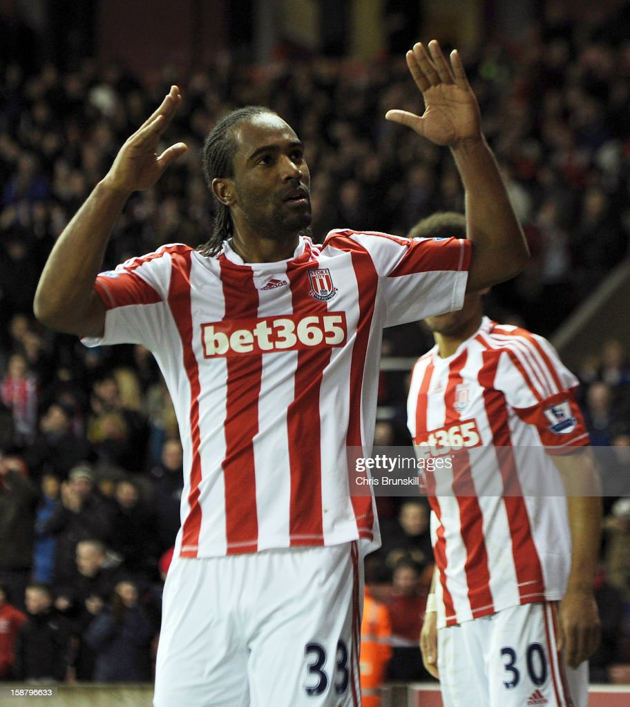 <a gi-track='captionPersonalityLinkClicked' href=/galleries/search?phrase=Cameron+Jerome&family=editorial&specificpeople=815275 ng-click='$event.stopPropagation()'>Cameron Jerome</a> of Stoke City celebrates scoring his side's third goal during the Barclays Premier League match between Stoke City and Southampton at Britannia Stadium on December 29, 2012 in Stoke on Trent, England.