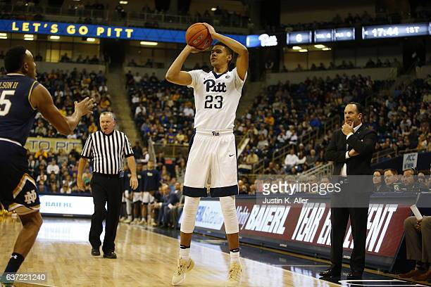 Cameron Johnson of the Pittsburgh Panthers in action against the Notre Dame Fighting Irish at Petersen Events Center on December 31 2016 in...