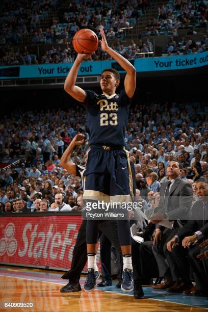 Cameron Johnson of the Pittsburgh Panthers shoots the ball against the North Carolina Tar Heels on January 31 2017 at the Dean Smith Center in Chapel...