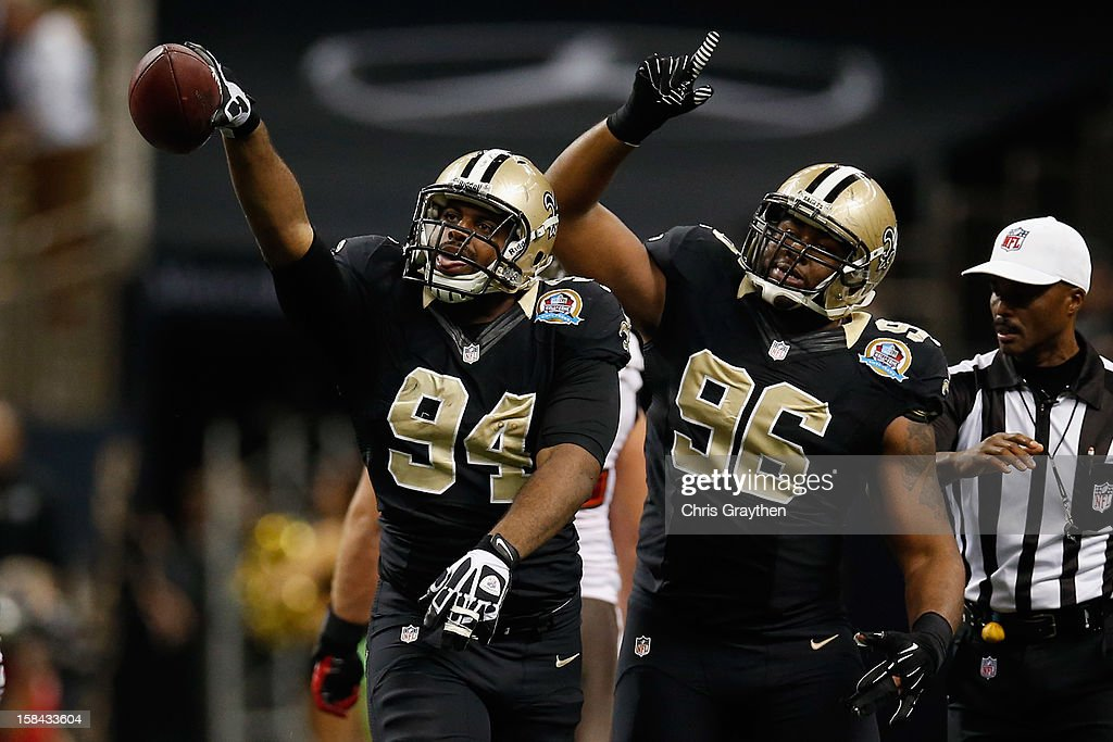 <a gi-track='captionPersonalityLinkClicked' href=/galleries/search?phrase=Cameron+Jordan&family=editorial&specificpeople=5574235 ng-click='$event.stopPropagation()'>Cameron Jordan</a> #94 of the New Orleans Saints celebrates after recovering a fumble by Josh Freeman #5 of the Tampa Bay Buccaneers at the Mercedes-Benz Superdome on December 16, 2012 in New Orleans, Louisiana. The Saints defeated the Buccs 41-0.