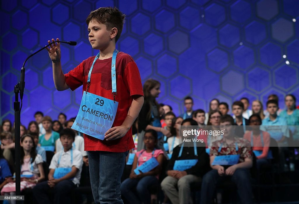 Cameron Keith of Longmont, Colorado, participates in round two of the 2016 Scripps National Spelling Bee May 25, 2016 in National Harbor, Maryland. Students from across the country gathered to compete for top honor of the annual spelling championship.