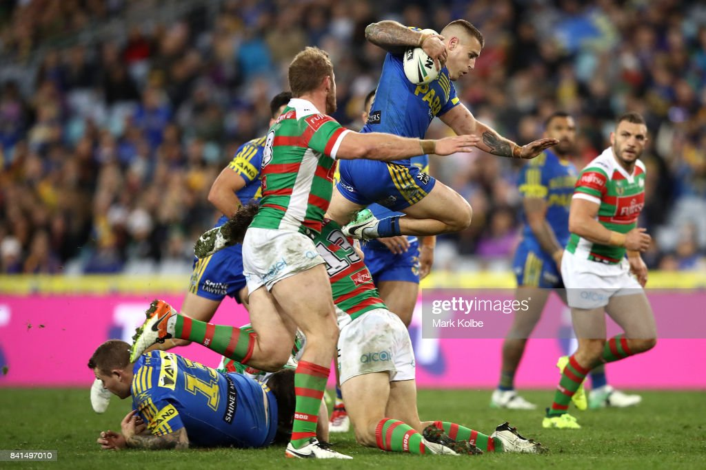 Cameron King of the Eels is tackled during the round 26 NRL match between the Parramatta Eels and the South Sydney Rabbitohs at ANZ Stadium on September 1, 2017 in Sydney, Australia.