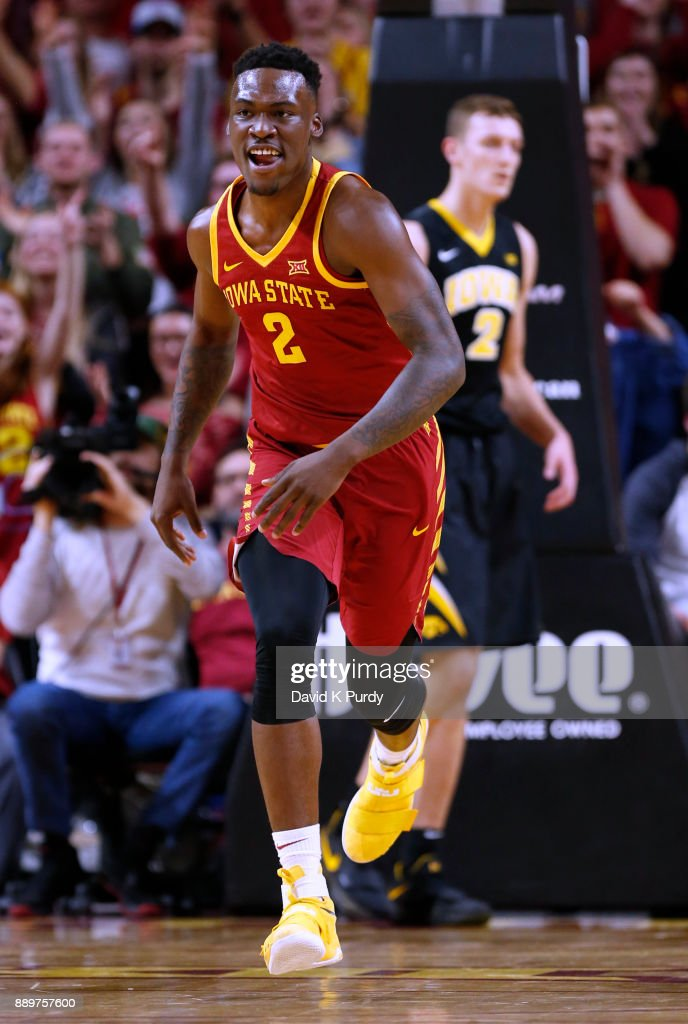 Cameron Lard #2 of the Iowa State Cyclones runs down court in the second half of play against the Iowa Hawkeyes at Hilton Coliseum on December 7, 2017 in Ames, Iowa. The Iowa State Cyclones won 84-78 over the Iowa Hawkeyes.
