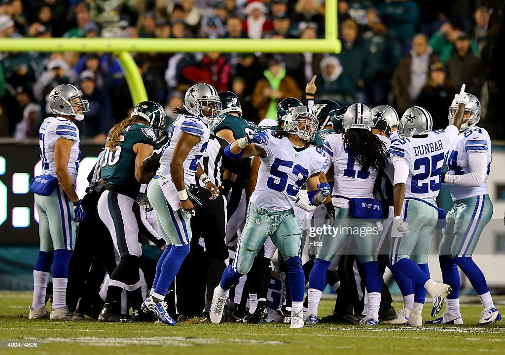 Cameron Lawrence #53 of the Dallas Cowboys celebrates after an onside kick recovery in the first quarter against the Philadelphia Eagles at Lincoln Financial Field on December 14, 2014 in Philadelphia, Pennsylvania.