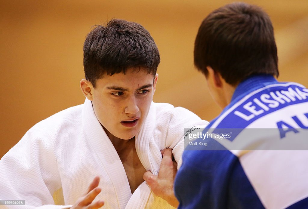 Cameron Leishman (R) of Australia competes against Jordan Kouros (L) of Australia in the Men's 66kg Judo during day four of the Australian Youth Olympic Festival at Sydney Olympic Park Sports Halls on January 19, 2013 in Sydney, Australia.