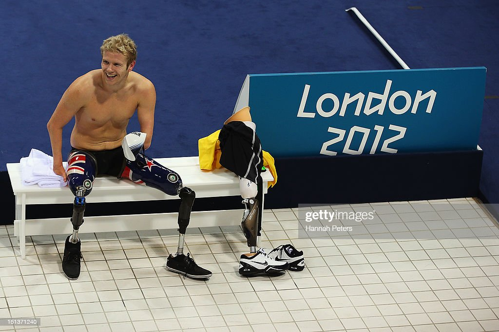 <a gi-track='captionPersonalityLinkClicked' href=/galleries/search?phrase=Cameron+Leslie&family=editorial&specificpeople=5525988 ng-click='$event.stopPropagation()'>Cameron Leslie</a> of New Zealand relaxes after competing in the Men's 50m Backstroke - S5 final on day 8 of the London 2012 Paralympic Games at Aquatics Centre on September 6, 2012 in London, England.