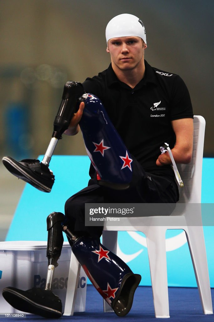 <a gi-track='captionPersonalityLinkClicked' href=/galleries/search?phrase=Cameron+Leslie&family=editorial&specificpeople=5525988 ng-click='$event.stopPropagation()'>Cameron Leslie</a> of New Zealand waits to compete in the Men's 200m Freestyle - S5 swimming final on day 3 of the London 2012 Paralympic Games at Aquatics Centre on September 1, 2012 in London, England.