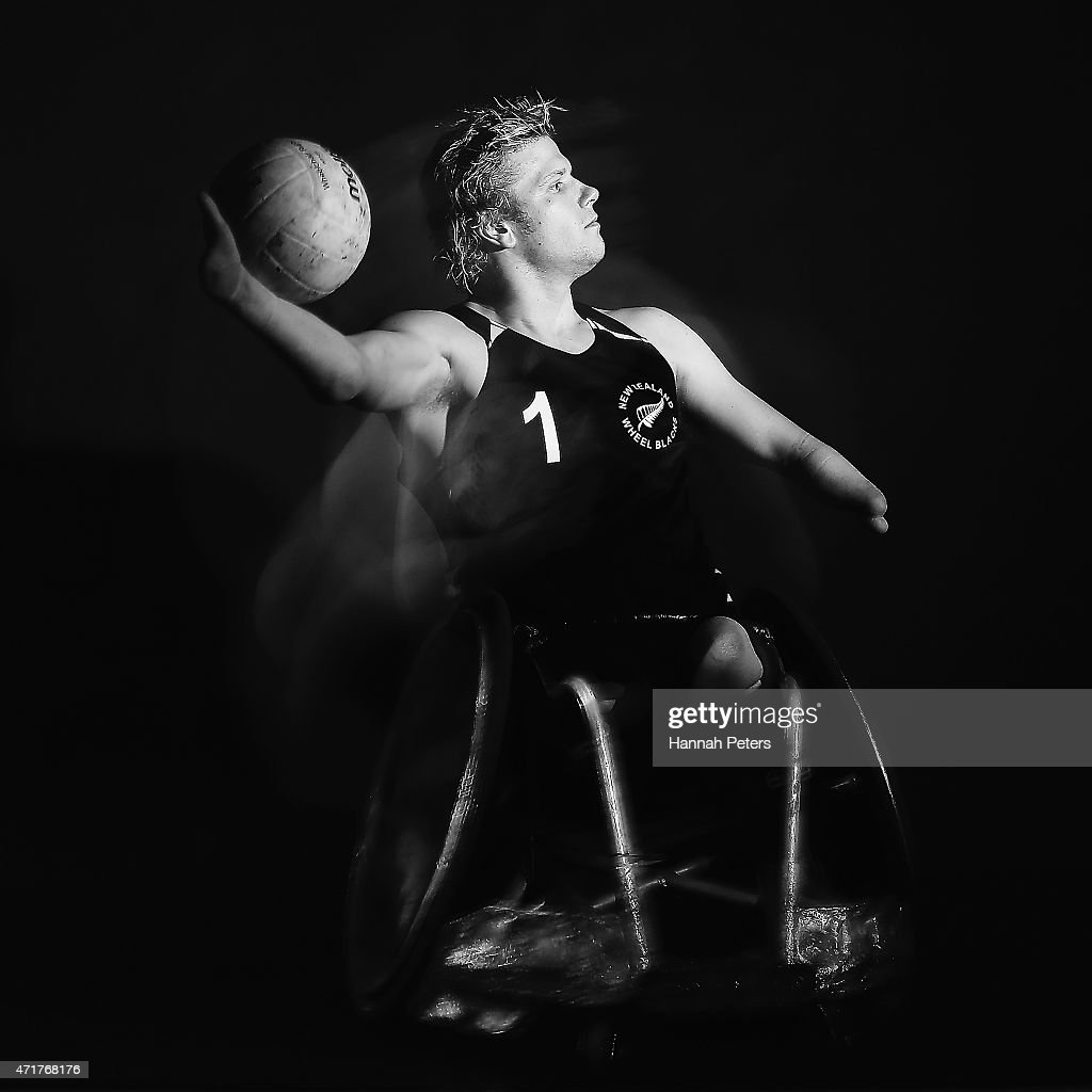 <a gi-track='captionPersonalityLinkClicked' href=/galleries/search?phrase=Cameron+Leslie&family=editorial&specificpeople=5525988 ng-click='$event.stopPropagation()'>Cameron Leslie</a> of the Wheelblacks poses for a photograph during a New Zealand Wheelchair rugby portrait session on May 1, 2015 in Auckland, New Zealand.
