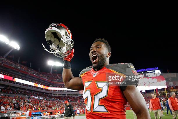 Cameron Lynch of the Tampa Bay Buccaneers celebrates after the game against the Seattle Seahawks at Raymond James Stadium on November 27 2016 in...