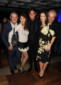 Cameron Mackintosh Frances Ruffelle Gareth Gates Rebecca Caine and Nick Allott attend the afterparty of 'Les Miserables' at The Barbican on September...