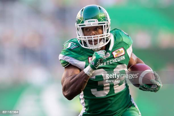 Cameron Marshall of the Saskatchewan Roughriders carries the ball in the game between the BC Lions and the Saskatchewan Roughriders at Mosaic Stadium...