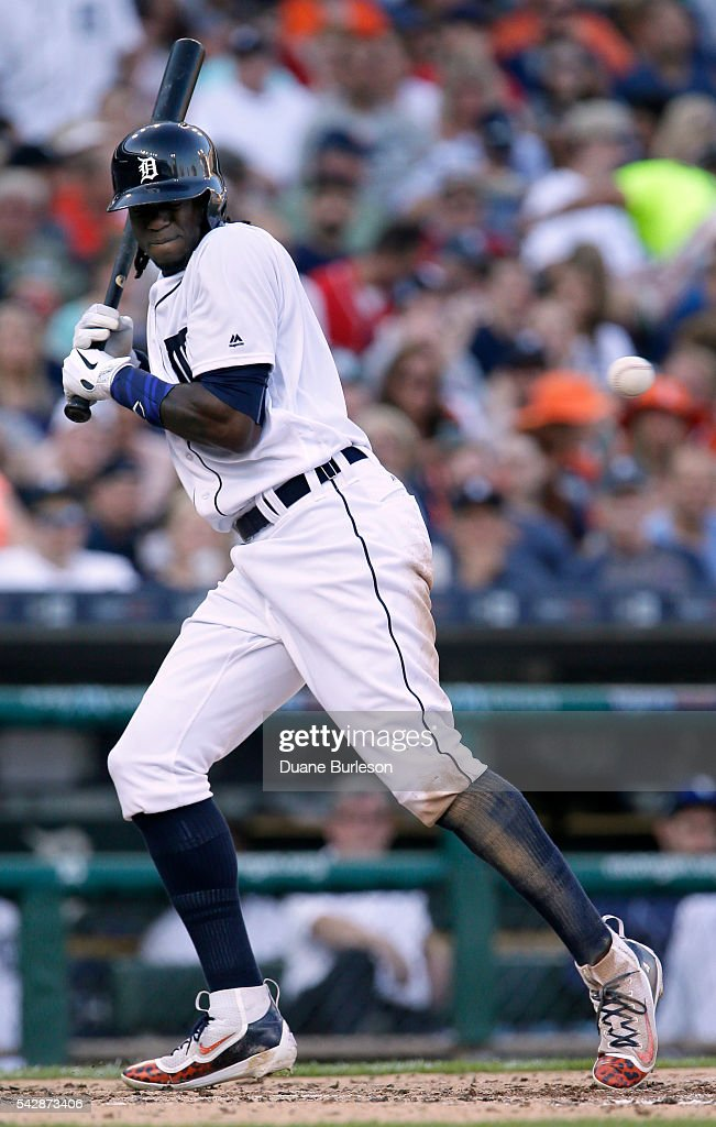 Cameron Maybin #4 of the Detroit Tigers avoids an inside pitch against the Cleveland Indians during the third inning at Comerica Park on June 24, 2016 in Detroit, Michigan.