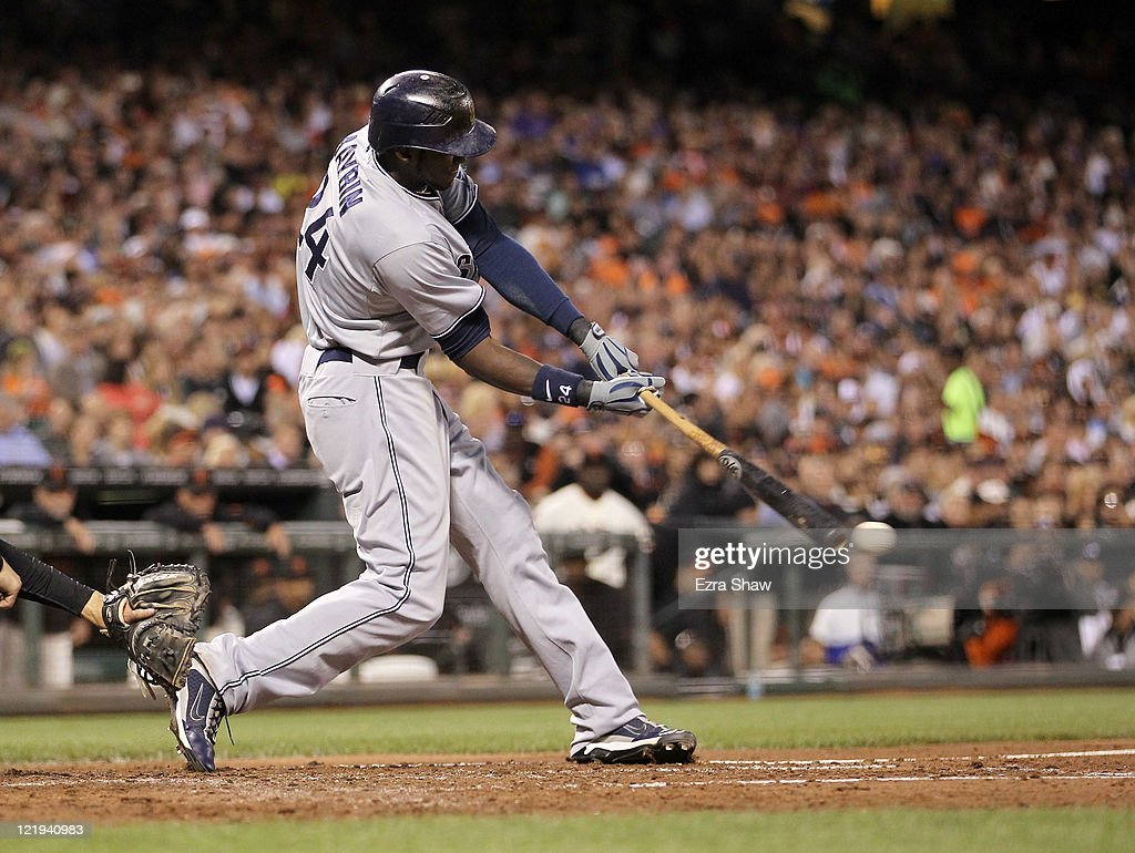 <a gi-track='captionPersonalityLinkClicked' href=/galleries/search?phrase=Cameron+Maybin&family=editorial&specificpeople=2364846 ng-click='$event.stopPropagation()'>Cameron Maybin</a> #24 of the San Diego Padres hits a single that scored Will Venable #25 in the third inning of their game against the San Francisco Giants at AT&T Park on August 23, 2011 in San Francisco, California.