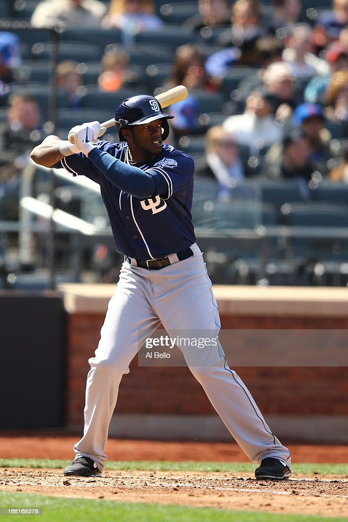 <a gi-track='captionPersonalityLinkClicked' href=/galleries/search?phrase=Cameron+Maybin&family=editorial&specificpeople=2364846 ng-click='$event.stopPropagation()'>Cameron Maybin</a> #24 of the San Diego Padres in action against the New York Mets during their game on April 4, 2013 at Citi Field in the Flushing neighborhood of the Queens borough of New York City.