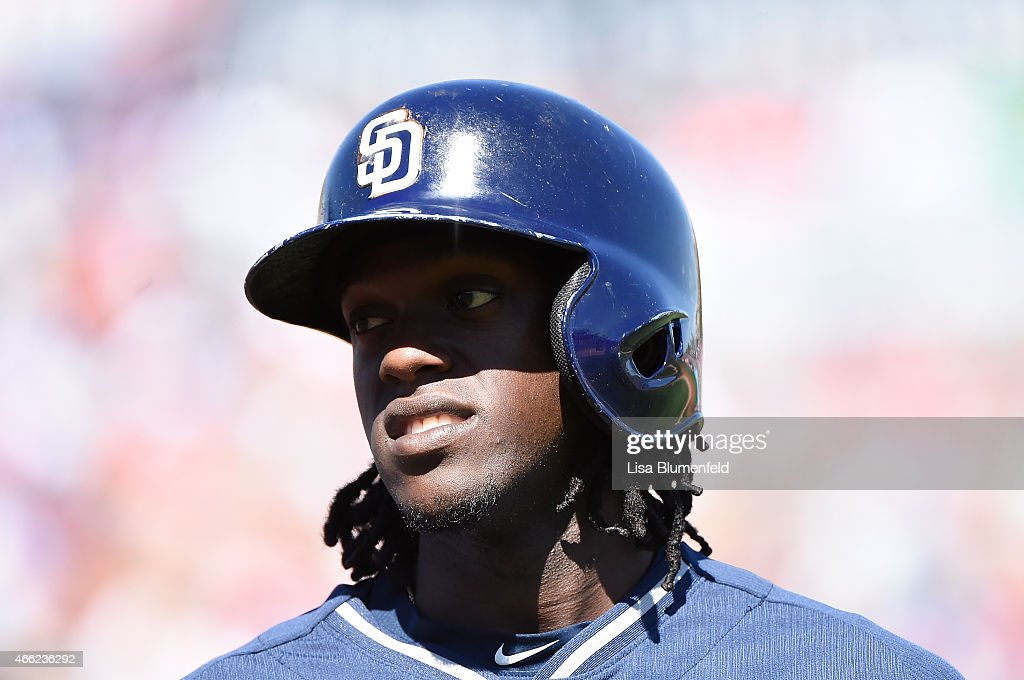 Cameron Maybin #24 of the San Diego Padres waits on deck during the game against the Los Angeles Angels of Anaheim at Tempe Diablo Stadium on March 13, 2015 in Tempe, Arizona.